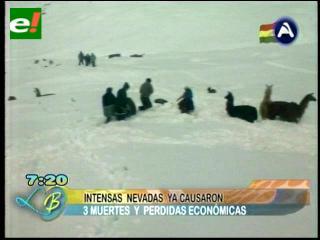 Al menos tres muertos por las intensas nevadas en Bolivia