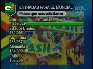 Argentina, tercero entre los países con más solicitudes de entradas de Brasil 2014