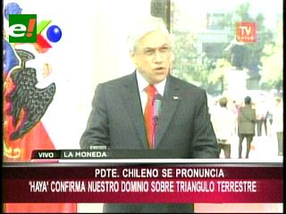 Sebastián Piñera afirma que el fallo de La Haya ha confirmado los argumentos de Chile
