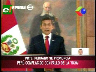Humala: Perú se siente complacido con fallo de La Haya