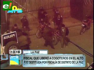 """Destituyen a la fiscal que liberó a """"cogoteros"""" en El Alto"""