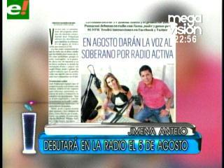 Jimena Antelo incursionará en la radio