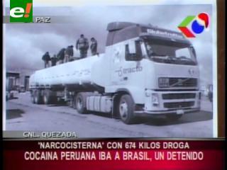 La Paz: FELCN detiene una «narco cisterna» con 674 kilos de cocaína