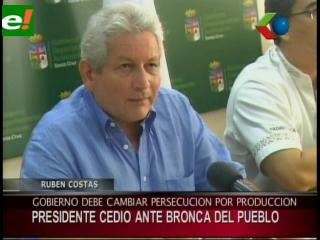 Rubén Costas pide al Gobierno cambiar la persecución por la producción