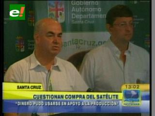 """Gobernación de Santa Cruz cuestiona la compra del satélite """"Tupac Katari"""""""