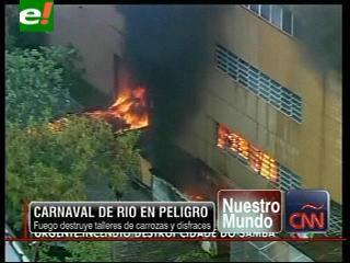 Carnaval de Rio en peligro, fuego destruye talleres de carrozas y disfraces
