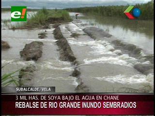 Rebalse del Río Grande inundó sembradíos y comunidades del Municipio de Chané