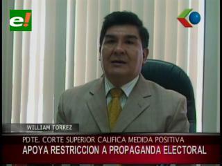 Corte Superior de Justicia de Santa Cruz apoya restricción a propaganda electoral en las próximas elecciones