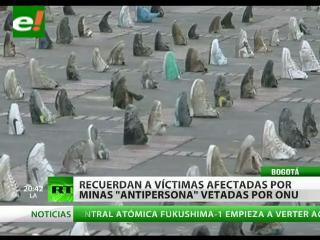 Colombianos recuerdan a las víctimas afectadas por las minas antipersonas