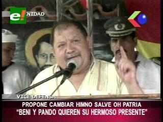 """Viceministro de Defensa propone cambiar el himno """"Salve o Patria"""""""