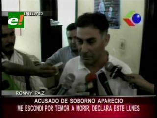 Acusado de soborno aparece ante los medios, Ronny Paz dice que se escondió por temor a morir