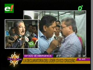Cívicos cruceños se declaran en emergencia, piden la liberación de Alcides Villagómez