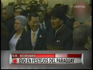 Evo en los festejos del Bicentenario del Paraguay