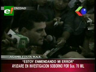Beni: Asambleísta departamental admite haber sido sobornado por 70 mil dólares