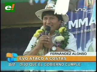Evo atacó a Costas: «El Gobernador de Santa Cruz no asiste a la entrega obras»