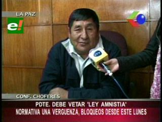 """Confederación de Choferes pide a Evo Morales vetar la Ley de amnistía de vehículos """"chutos"""""""