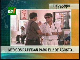Médicos en Santa Cruz ratifican paro de actividades para este 2 de agosto