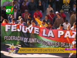 Vecinos y cívicos marcharon en La Paz, piden respeto a límites y anuncian lucha contra loteadores
