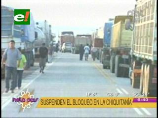 Suspenden temporalmente el bloqueo en la Chiquitania
