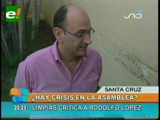 ¿Crisis en la Asamblea Departamental Cruceña? asambleísta Limpias critica a su Presidente