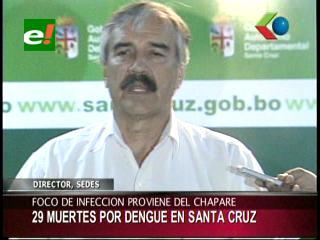 Sedes confirma 29 muertes por dengue en Santa Cruz