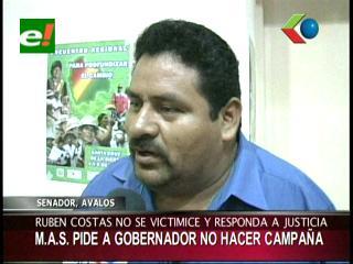 Senador Ávalos le pide a Rubén Costas dejar de hacer campaña política