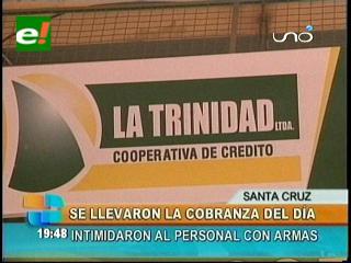 """Delincuentes atracan la cooperativa """"La Trinidad"""""""