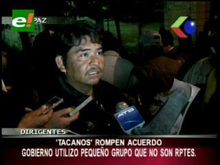 Dirigencia Tacana desconoce acuerdo firmado con el Gobierno