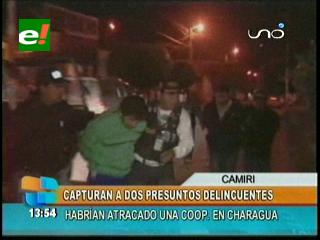Detienen a dos atracadores de entidad financiera en Charagua