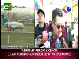 Gobierno anuncia que AeroSur perdió su licencia de operaciones