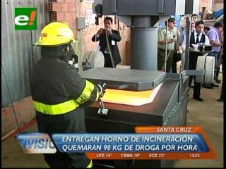 Entregan horno de incineración de cocaína a la Felcn de Santa Cruz