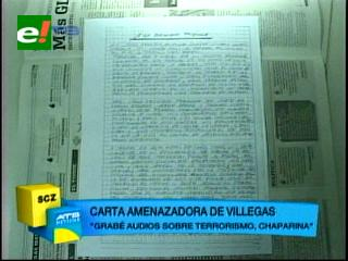La carta amenazadora de Boris Villegas