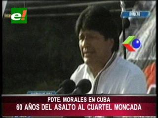 Evo participó en Cuba del 60 aniversario del asalto al cuartel Moncada