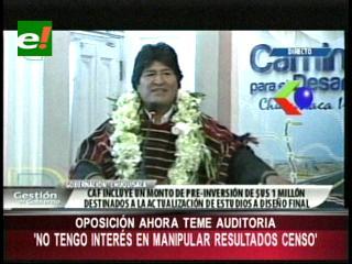 """Evo: """"La oposición teme a una auditoria internacional al censo"""""""