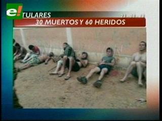 Titulares: Gobierno confirma 30 muertos por la tragedia en Palmasola