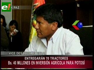 Gobierno donará 74 tractores a 37 municipios de Potosí