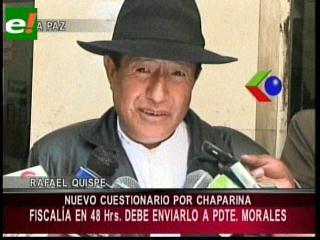 Chaparina: Quispe entrega 2do cuestionario para Evo, pide careo con Chacón