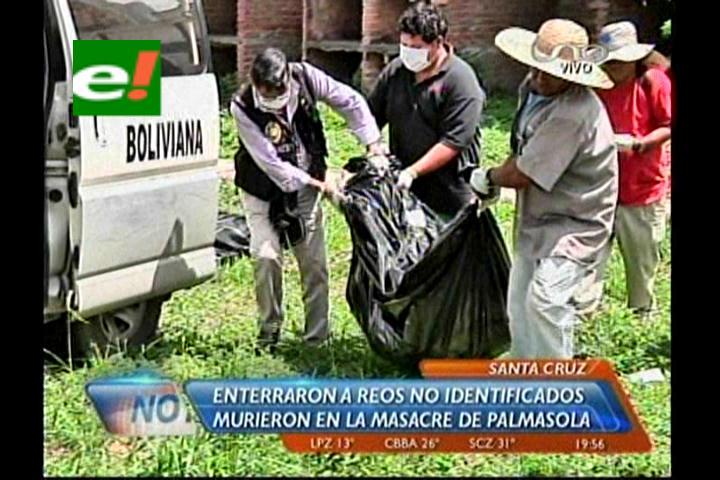Sepultaron a reos no identificados de la masacre de Palmasola