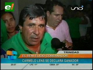 Elecciones en Beni: Carmelo Lenz se declara ganador