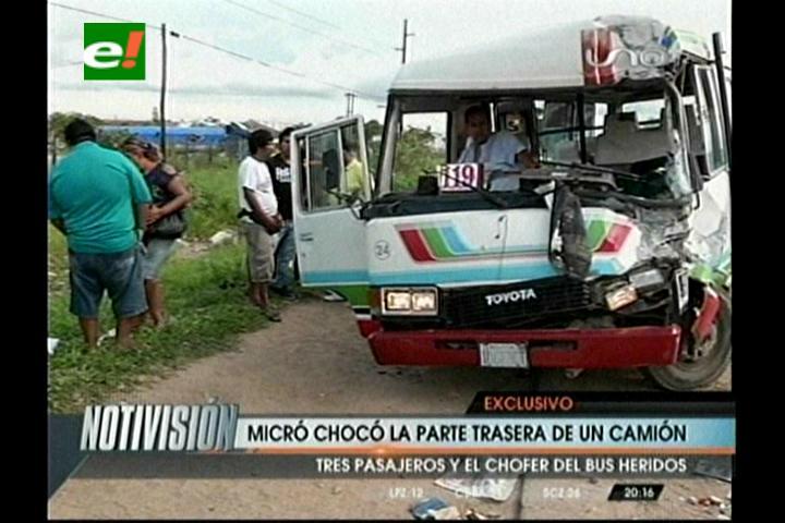 Santa Cruz: Un micro choca con un camión y deja cuatro heridos