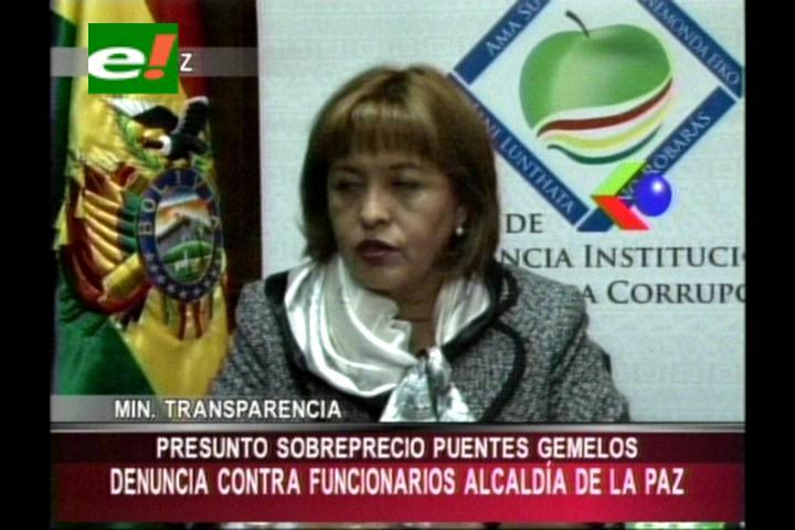 Ministra Suxo presenta denuncia por presuntas irregularidades en la adjudicación del proyecto 'puentes gemelos'