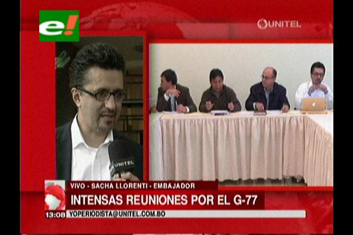 Sacha Llorenti en Santa Cruz, acudió a la reunión de coordinación de la cumbre G-77