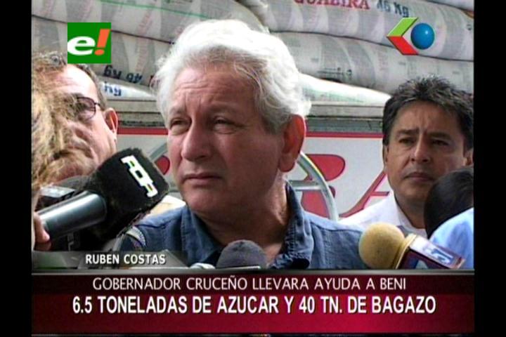 Ingenio Guabirá entrega a Rubén Costas ayuda para damnificados por inundaciones