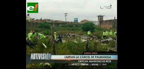 Limpian la basura el penal de Palmasola