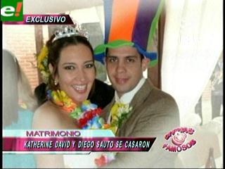 Katherine David y Diego Sauto se casaron por lo civil
