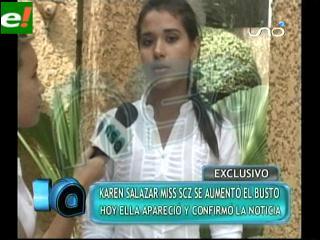 Karen Salazar Miss Santa Cruz 2011: Reaparece ante los medios