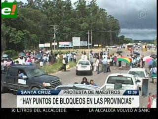 Bloquean carreteras a Cotoca, La Guardia y Camiri