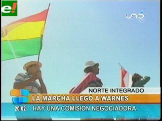 La marcha indígena descansa en Warnes