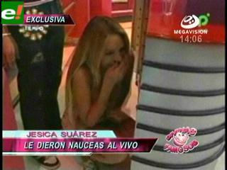 Jéssica Suárez pasó apuros en la tv