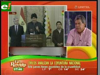 Cívicos hablan del post gasolinazo y reforma del estatuto